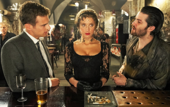 A still featuring Theo James, Amber Heard and Jim Sturgess from the film London Fields.