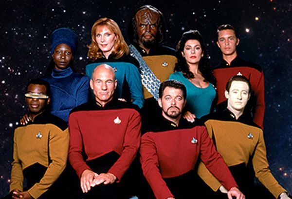 A press still of Star Trek: The Next Generation featuring the main cast.